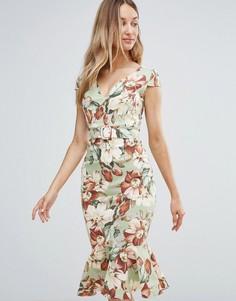 Платье миди с цветочным принтом в винтажном стиле и кромкой-оборкой Vesper - Зеленый