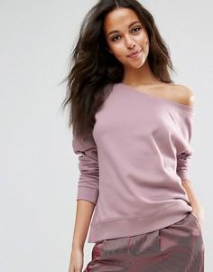 Свободный свитшот с открытыми плечами ASOS - Фиолетовый