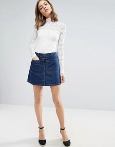Свободная джинсовая юбка Vero Moda - Синий