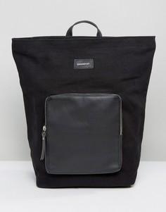Рюкзак из хлопковой парусины с кожаной отделкой Sandqvist Misha - Черный