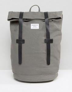 Рюкзак ролл-топ из хлопковой парусины с кожаной отделкой Sandqvist Sonja - Серый