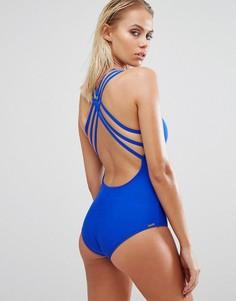 Синий слитный купальник с перекрестной отделкой на спине Body Glove - Синий