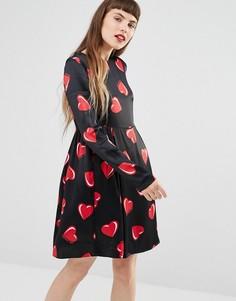 Платье с длинными рукавами и принтом сердец Love Moschino - Черный