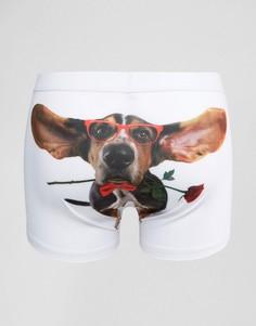 Боксеры-брифы с собакой ASOS - Белый