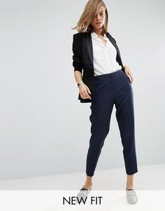 Укороченные креповые брюки-сигареты ASOS - Темно-синий