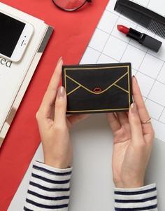 Кожаная кредитница в виде конверта Lulu Guinness - Черный