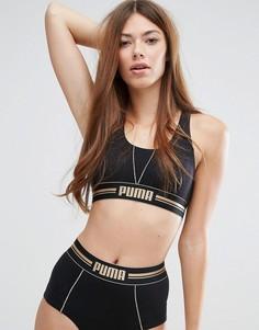 Бюстгальтер с золотистым логотипом Puma - Черный