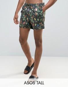 Короткие шорты для плавания с цветочным принтом ASOS TALL - Мульти