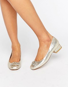 Туфли-лодочки с низким каблуком и отделкой Dune Beebie - Золотой