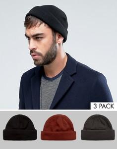 3 шапки-бини (черная, серая, красно-бурая) ASOS - СКИДКА - Мульти