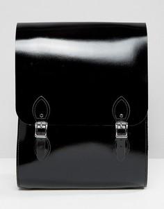 Черный лакированный рюкзак Leather Satchel Company - Черный