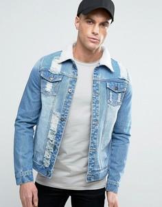 Джинсовая куртка с рваной отделкой и искусственным мехом Liquor & Poker - Синий