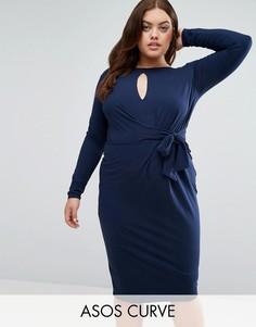 Платье миди с глубоким вырезом, длинными рукавами и завязкой сбоку ASOS CURVE - Темно-синий