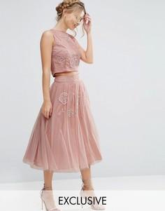 Юбка из тюля с цветочной отделкой Lace & Beads - Розовый