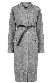 женское пальто с поясом из экокожи La Reine Blanche