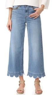 Выцветшие джинсы с зубчатым нижним краем RED Valentino
