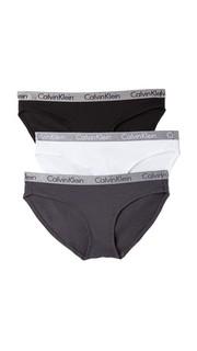 Комплект из трех пар хлопковых трусиков-бикини Radiant Calvin Klein