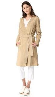 Замшевое пальто в стиле халата Vince