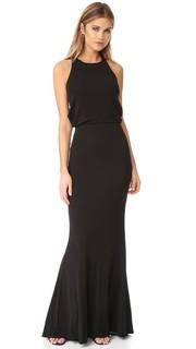 Вечернее платье из джерси с драпировкой сзади Badgley Mischka Collection