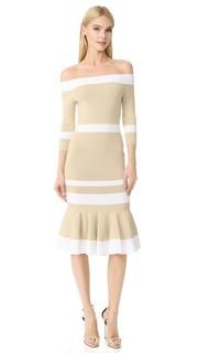 Платье с открытыми плечами, подолом-годе и яркими полосками Jonathan Simkhai