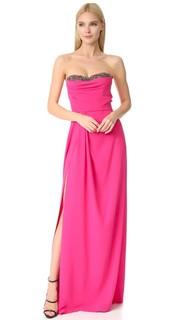 Вечернее платье без бретелек из крепа Marchesa Notte