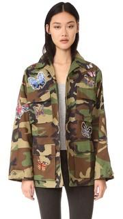 Камуфляжная куртка с аппликациями в виде бабочек JN by JN Llovet