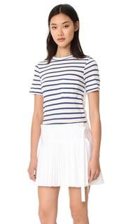 Плиссированное платье из разных материалов с лифом в виде футболки Sea