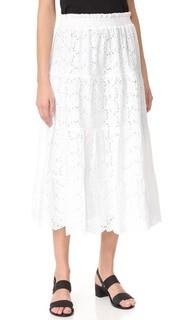 Присборенная юбка с вышивкой Tory Burch