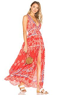 Макси платье с глубоким v-образным вырезом - ROCOCO SAND