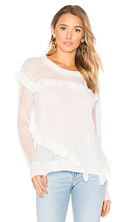 Ruffle crew neck sweater - White + Warren