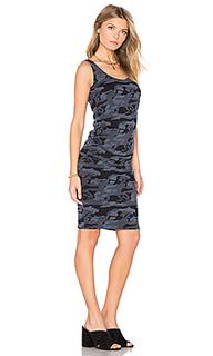 Платье со складками на бретельках bone blue - MONROW