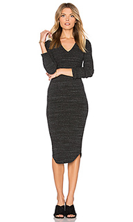 Stretch rib v neck dress - MONROW
