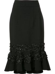 юбка с воланами и цветочной вышивкой Carolina Herrera