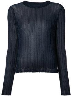 прозрачная футболка в рубчик Helmut Lang