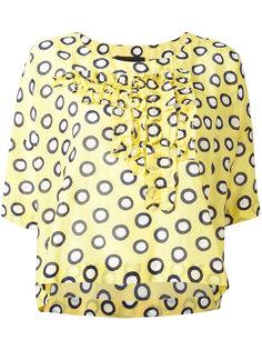 блузка с рюшами и рисунком Boutique Moschino