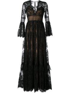 расклешенное кружевное вечернее платье Zuhair Murad