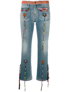 декорированные укороченные джинсы с бахромой  Roberto Cavalli