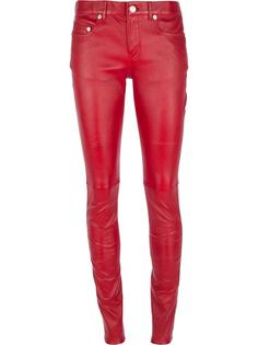 кожаные брюки скинни Saint Laurent