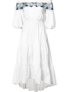 платье с открытыми плечами и вышивкой Peter Pilotto