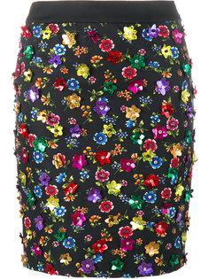 юбка с цветочной аппликацией  Moschino