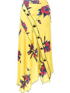 асимметричное платье с цветочным узором Proenza Schouler