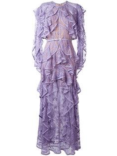 кружевное платье с оборками Elie Saab