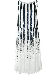 платье в полоску с пайетками Carolina Herrera