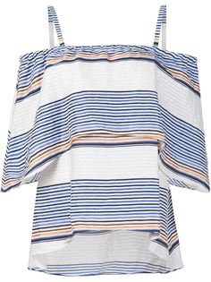 полосатая блузка с открытыми плечами Tanya Taylor