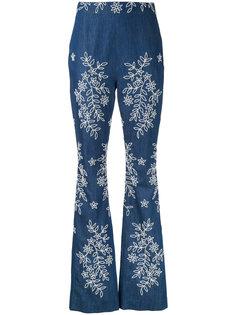 расклешенные джинсы с вышивкой Huishan Zhang