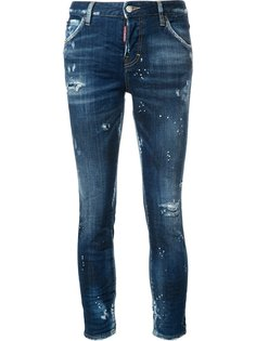 укороченные джинсы бойфренды с рваными деталями Dsquared2