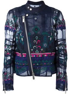 байкерская куртка с вышивкой и орнаментом Sacai