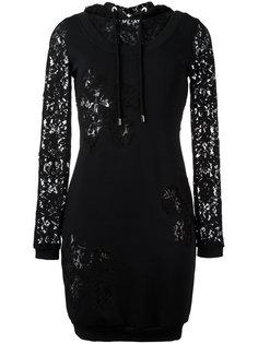 платье-толстовка с кружевной панелью Moschino