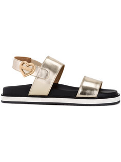сандалии с отделкой металлик Love Moschino