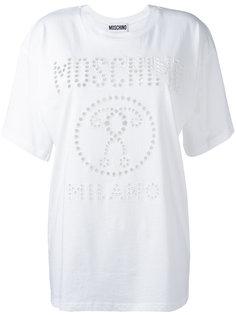 футболка с перфорированным логотипом Moschino
